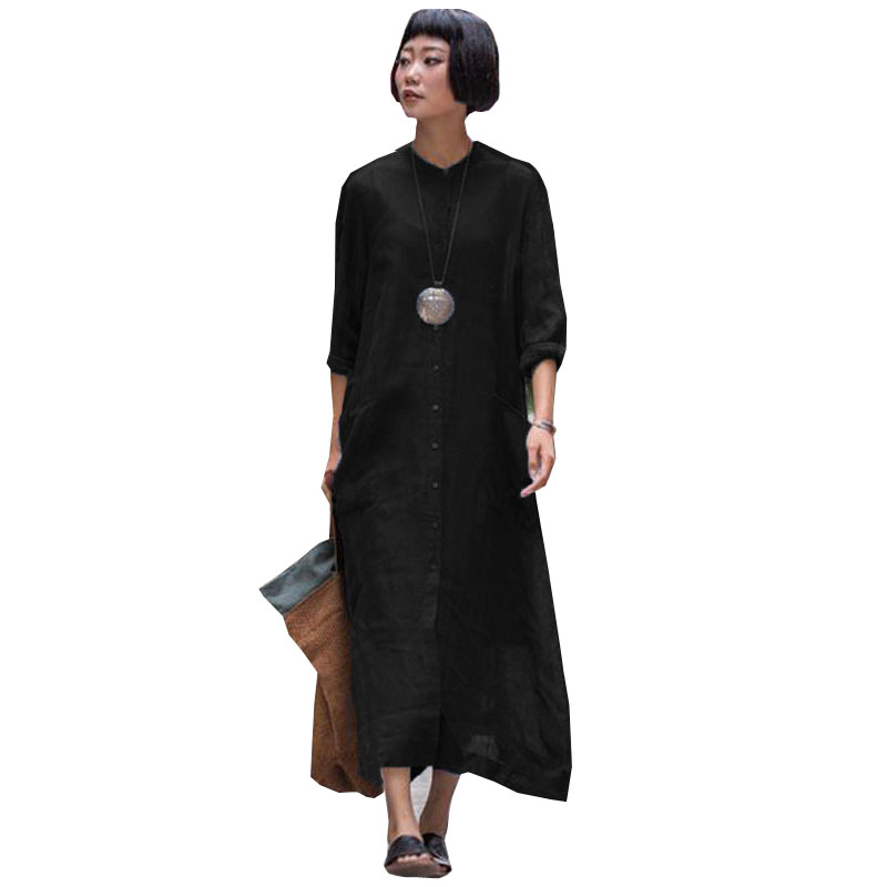 Fashion ZANZEA Women Buttons Down Cotton Linen Shirt Dress Spring O Neck Long Sleeve Solid Party Black Long Vestido Plus Size