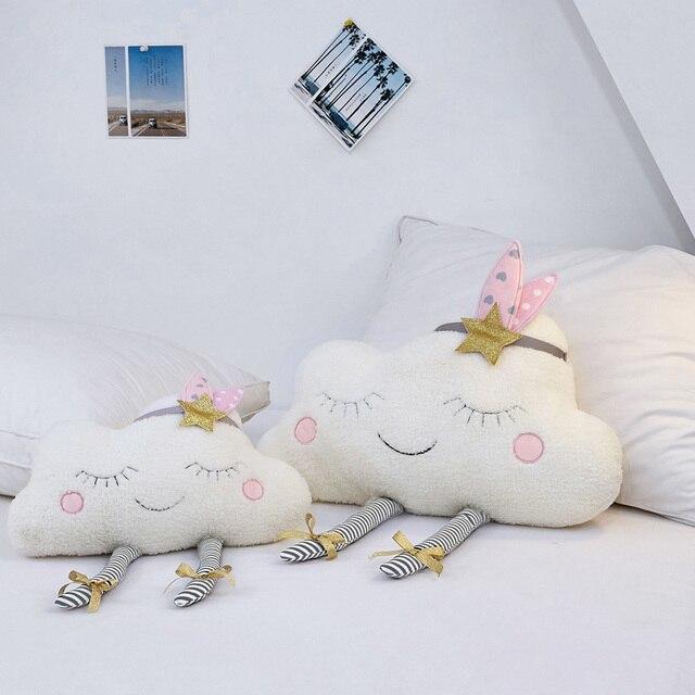 Ins Nooer Sorriso Nuvem Branca Nuvem Travesseiro De Pelúcia Almofada Do Sofá Macio Brinquedos de Pelúcia Para As Crianças Crianças Room Decor Presente de Aniversário para As Meninas