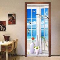 창 바다보기 diy 크리 에이 티브 입체 문 스티커 벽 종이 홈 장식 거실 침실 장식 스티커 방수