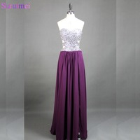 Silver Beaded Rhinestones Chiffon Prom Gown Dark Grape Purple Real Samples Floor Length Back Hole Sexy Prom Dresses