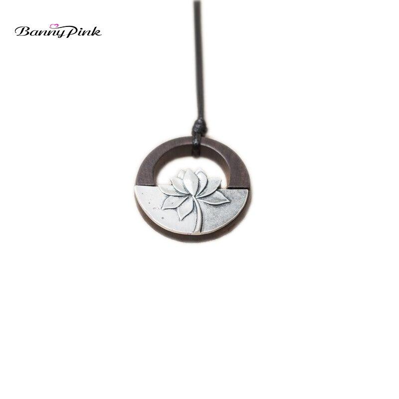 Banny Rose Ethnique Zen Alliage lotus Pendentif Collier Pour Femmes Vintage Ronde Ébène En Bois Collier Mode Bijoux Colliers Colar