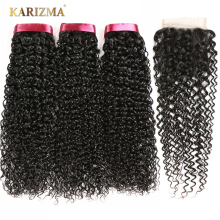 Karizma brasiliansk Kinky Curly Weave Human Hair 3 Bunter Med Closure Non Remy Brasiliansk Hair Weave Bundles With Closure 4Pcs