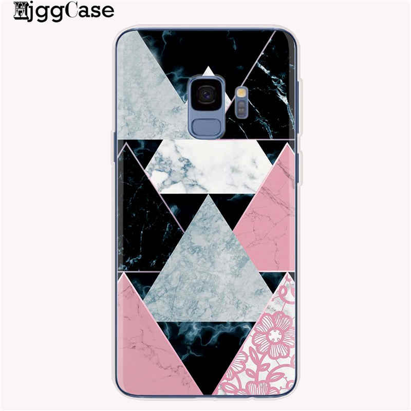 Geometris Marmer Case For Coque Samsung Galaxy S6 S7 Edge S8 S9 S10 Plus A5 2017 A520 A7 J4 J6 a6 A8 Plus 2018 Cover Lembut Kasus