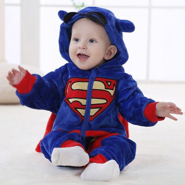 be952be09b6 Otoño Invierno Mameluco Del Bebé Ropa Infantil Superman Sudaderas Con  Capucha de Franela Coral BoysRomper BabyGirl