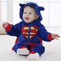 Outono Inverno Romper Do Bebê Do Vestuário Infantil Superman BoysRomper Flanela Coral Hoodies Macacão BabyGirl Recém-nascidos ToddleClothes YL156