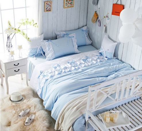 Ice Blue Princess Bedding Set Girl Lace Ruffle Full Queen