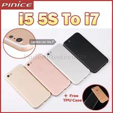 New Housing For iPhone 5 5S SE Like 7 Aluminum Metal Back Case Housing Battery Door Cover Replacement Like i7 style 7mini