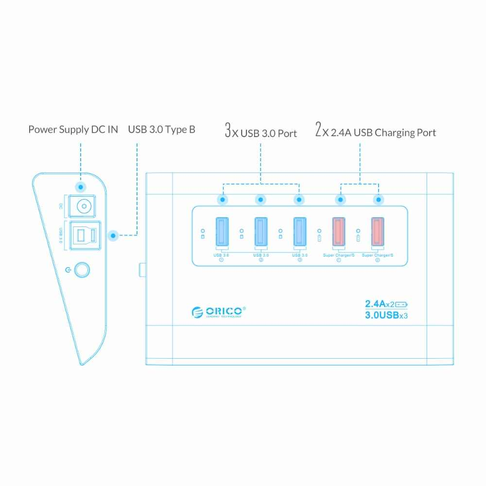 Orico UH3C2-SV Aluminium USB3.0 Hub untuk Laptop Desktop dengan 2 Super Charger Port untuk Ponsel Tablet-Silver