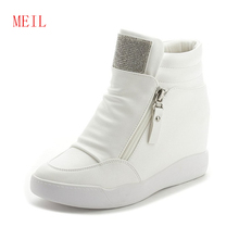 Womens High Top Leather Sneakers Platform Double Zippers Rhinestone Shoes 2019 Spring New Casual 7CM Heeled Wedge Women