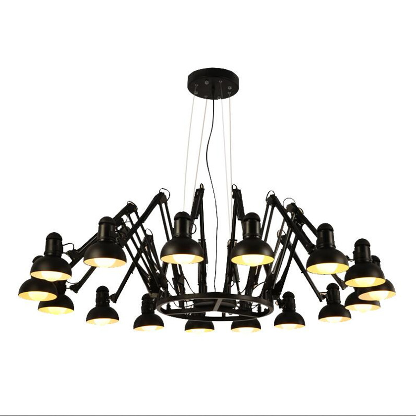 LED Retro Spider Black Pendant Light Adjustable Arms Chandeliers for Indoor Hanging Lamp Lusters Abajur Luminaire Pendant lamp