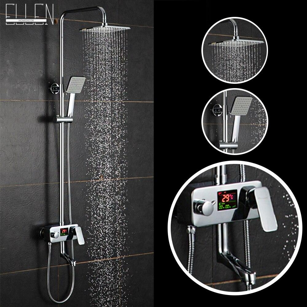 Digital shower temperature control - Digital Display Shower Faucet Luxury Rain Shower Set Water Powered Digital Display No Need Battery 8