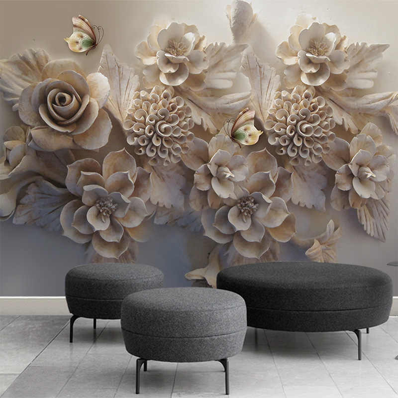Papel De Parede personalizado Mural 3D Alívio Tridimensional Estética Européia 3D Flor Borboleta Sala de estar Sofá Fundo Papel De Parede