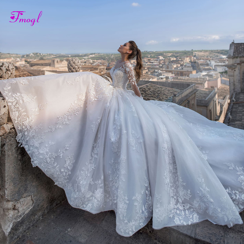 229910db3ba Fmogl Luxury Appliques Court Train A-Line Wedding Dresses 2019 Fashion  Scoop Neck Lace Up