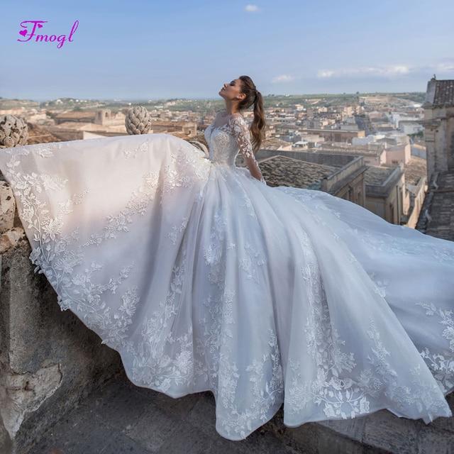 Fmogl Luxury Appliques Court Train A-Line Wedding Dresses 2019 Fashion  Scoop Neck Lace Up Princess Bridal Gown Vestido de Noiva e0550cf2651f