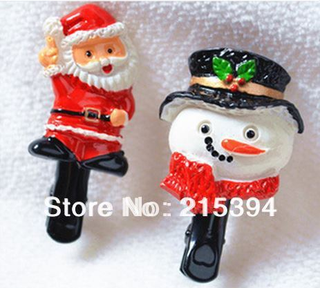 free shipping wholesale christmas gifts for kids baby hair accessories hairpin santasnowman