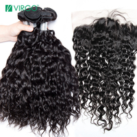 Lace Frontal Closure with Bundles 3 Pcs Water Wave Human Hair Bundles With Closure Pre Plucked Frontal Virgo Malaysian Remy Hair