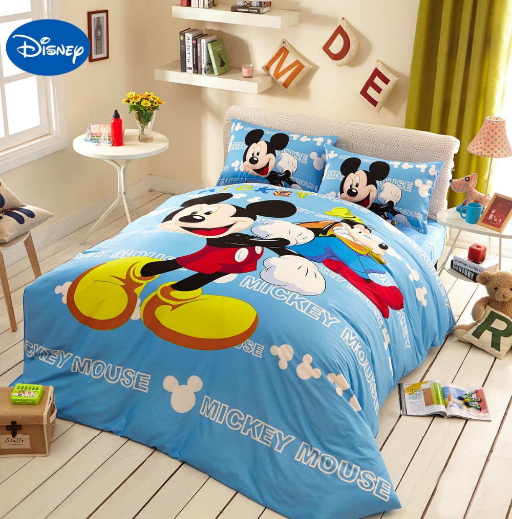 Blue Disney Cartoon Mickey Mouse 3D Bedding Set for Childrens Home Decor Cotton Bed Duvet Cover Comforter Single Twin Full Queen