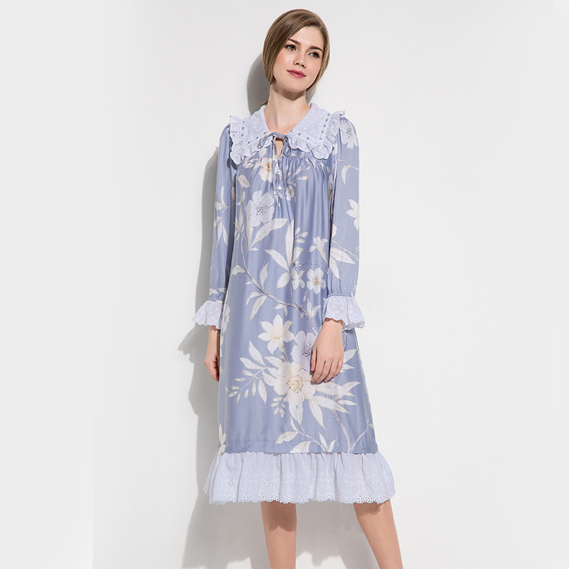 Tencel Nightdress Female Spring Autumn Printed Soft Vintage Royal Lace Princess Sleepwear Long Style Woman Nightgowns D1508012A