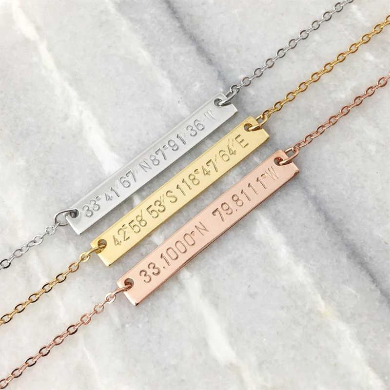 316L Kişiselleştirilmiş Bar Kolye soğuk paslanmaz çelik özelleştirilmiş isim plakası takı kolye özel çift sevgililer Günü hediyesi