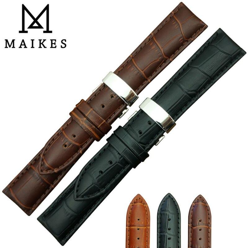 MAIKES Hot Sell 16mm 18mm 19mm 20mm 22mm 24mm Soft Genuine Leather Alligator Grain font b