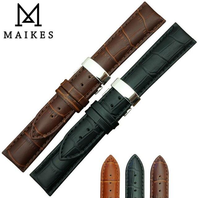 Maikes горячая распродажа 16 мм 18 мм 19 мм 20 мм 22 мм 24 мм мягкой натуральной кожи аллигатора зерна часы группа ремень хромовых ремешок для Tissot