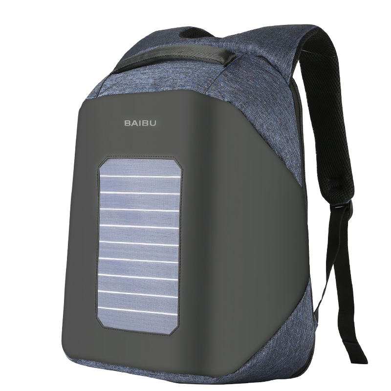 VEJIERY Solar Energy Men Backpack Antitheft 15 6 inches Laptop Waterproof USB Charge Backpack Large Capacity
