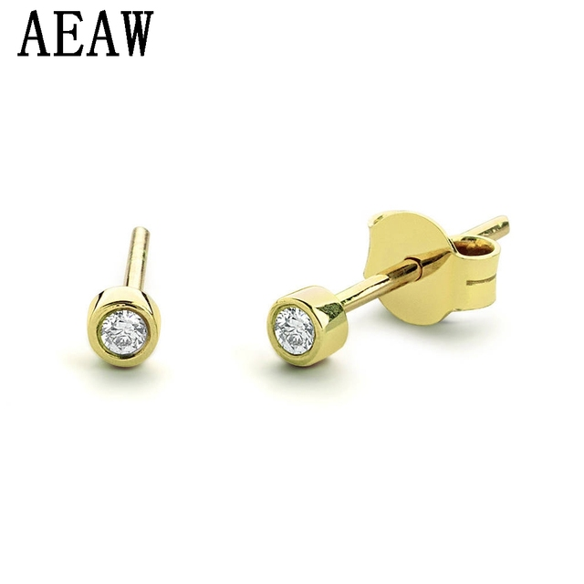 34c6586de 1.8mm Tiny Bezel Setting Diamond Stud Earrings in 14k Yellow Gold Genuine  Diamond Stud Earrings Push Backs Perfect Gift