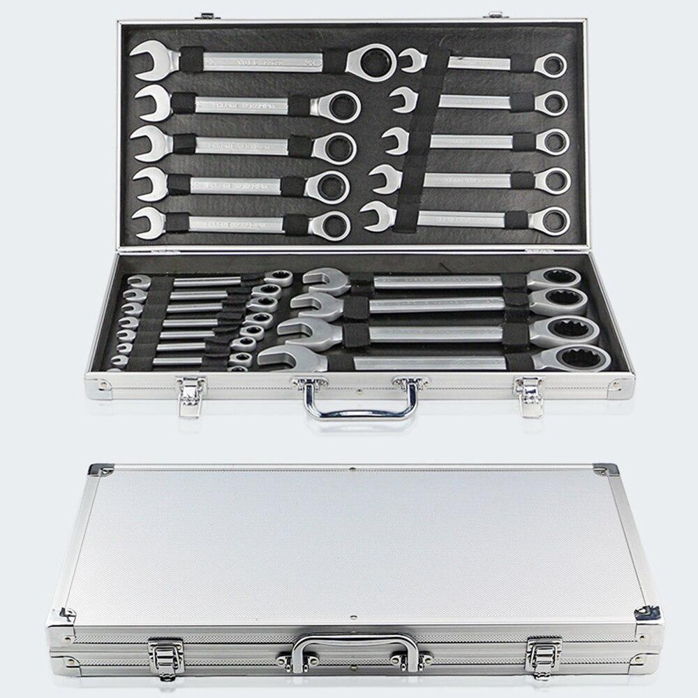 22 pièces/ensemble 6 ~ 32mm fixe Double tête clé à cliquet 72 engrenage combinaison clé ensemble clé universelle Kit avec boîte en aluminium