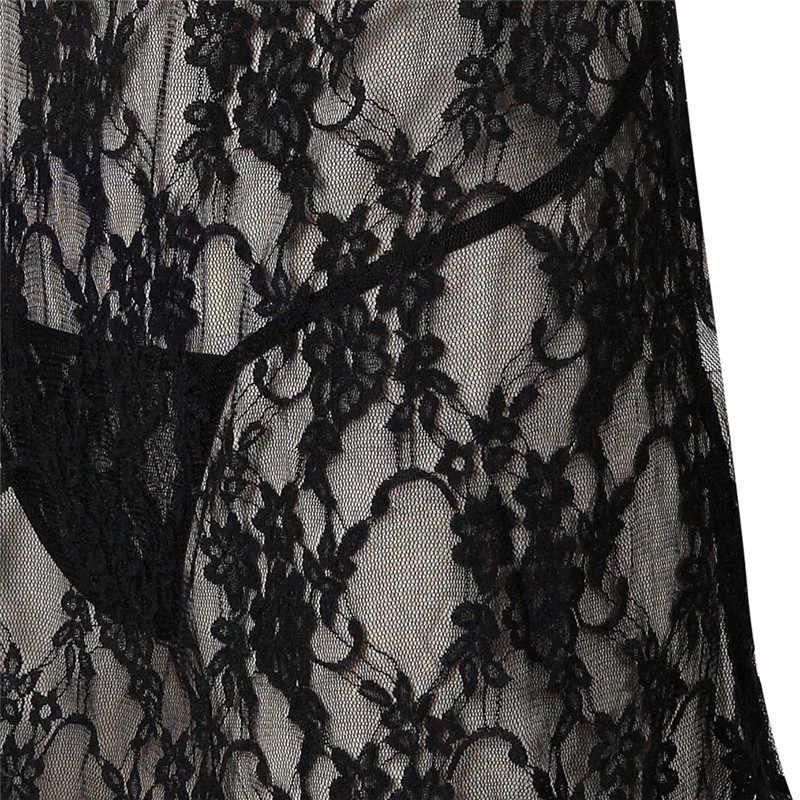 Сексуальное женское нижнее белье Babydoll, эротическое женское черное кружевное платье размера плюс, костюм, одежда для сна, Прозрачное нижнее белье с вырезом, хит продаж