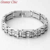 Granny Chic 9 15MM New Arrival Fashion Jewelry Men Women Crystal CZ Bracelet Silver 316L Stainless