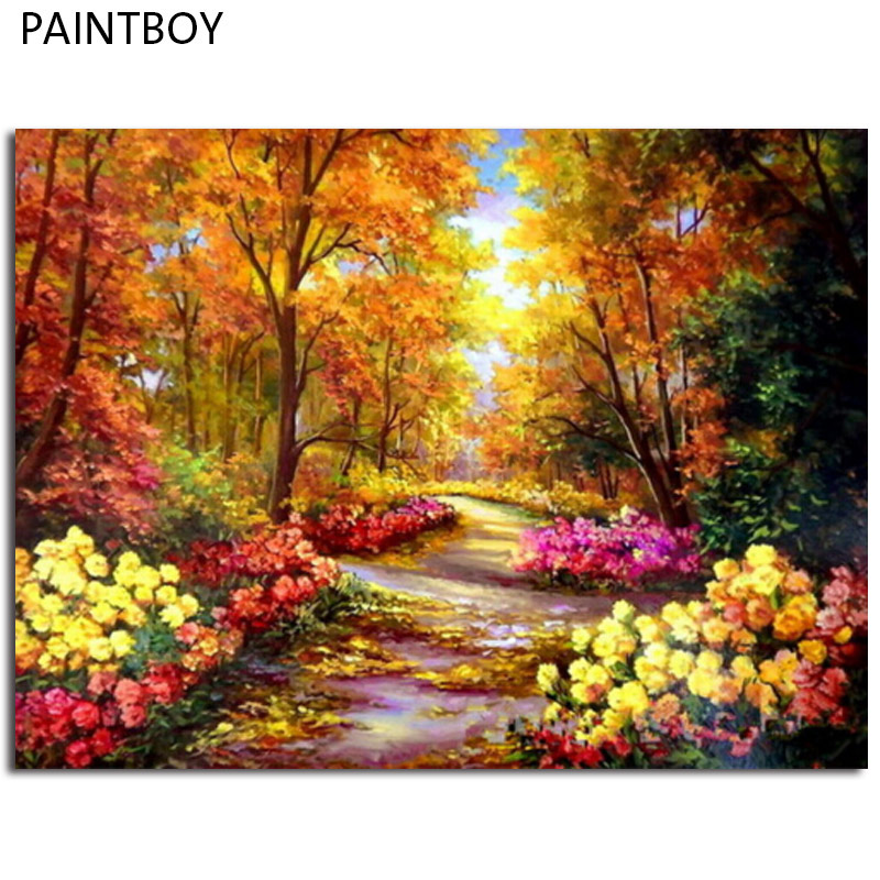 Landscape Framed Pictures Painting By Numbers Painting and Calligraphy DIY Coloring By Numbers on Canvas 40*50cm GX9288