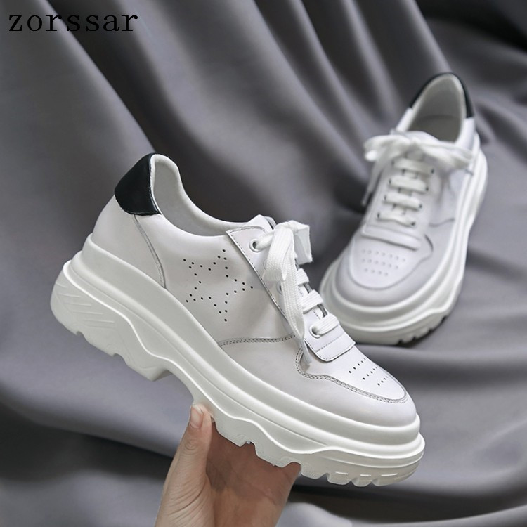 2019 New Designer Cow Leather Flat white Shoes Female Platform Sneakers Women Tenis Feminino Casual Female Shoes Woman Flats