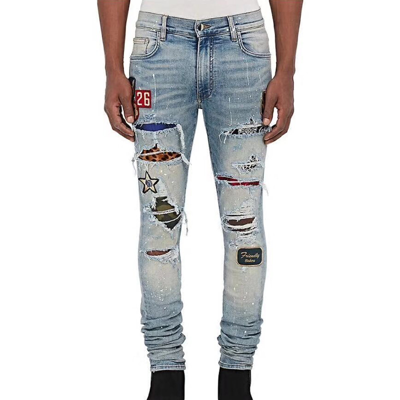 Top Quality High Street Fashion Brand Men Jeans Slim Fit Blue Color Ripped Jeans Men Pants Patchwork Punk Biker Jeans Homme коньки onlitop pvc 64mm 1231426