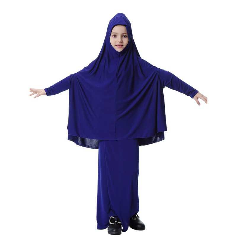 1b5cb83402e59 Muslim Girls dress Islamic Long dress + Hijab dresses 2018 Cute Children  Clothes Kids Long 2 piece Sets Headdress Hot Sale
