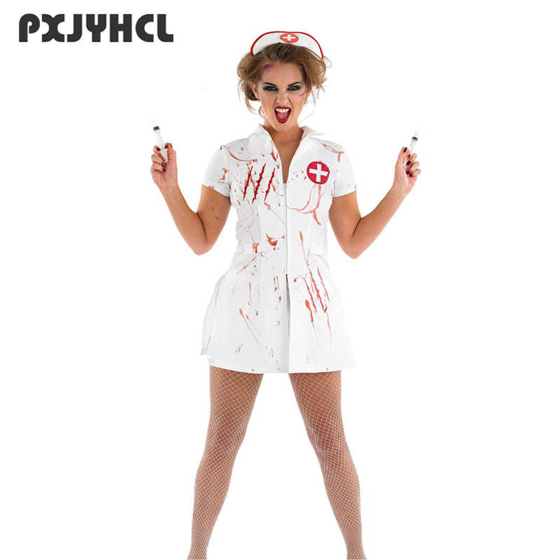 bce617dc1af Women Nurse Sexy Cosplay Costume Halloween Party Wear White Scary Blood  Role Play Games Zombie Disguise