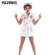 e4bed1489a3e0 Femmes infirmière Sexy Cosplay Costume Halloween fête porter blanc  effrayant sang jeux de rôle Zombie déguisement fantaisie femm.