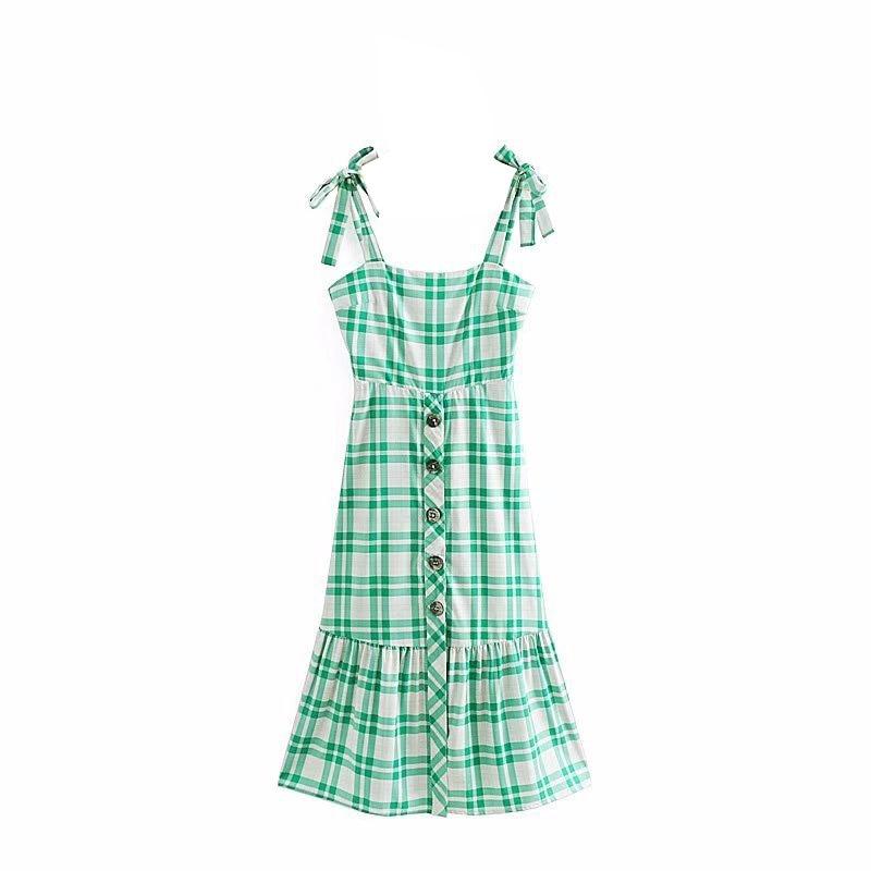 2018 été français Vintage vert robe à carreaux Slim taille haute boutons réglable sangle longue robe fermeture à glissière patte - 2