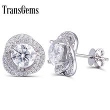 TransGems 2 قيراط مختبر نمت مويسانيتي الماس أقراط ابعاد في الصلبة 14 K الذهب الأبيض للنساء غرامة مجوهرات