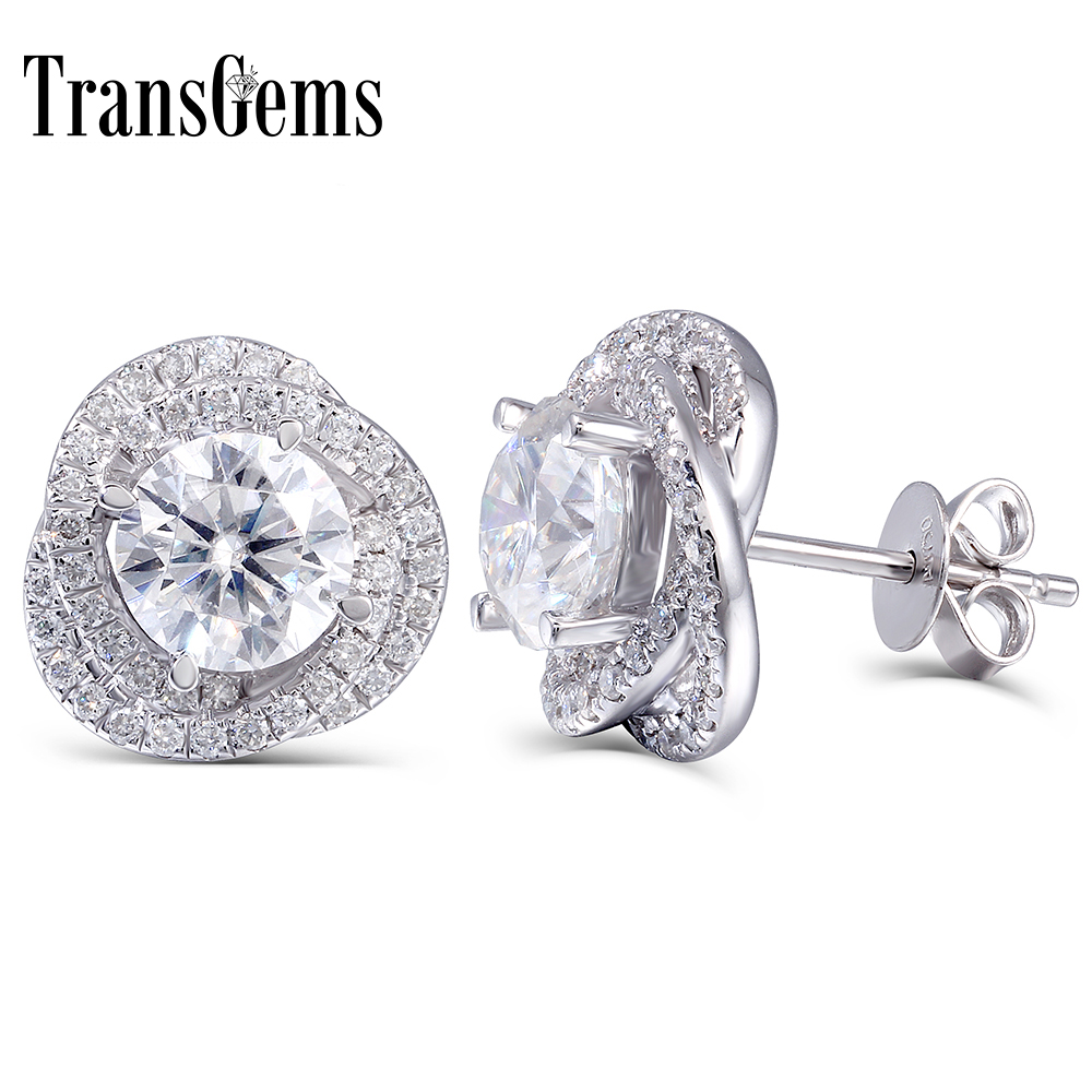 TransGems 2 CTW Lab Grown Moissanite Diamond Stud Earrings Push Back in Solid 14K White Gold for Women Fine Jewelry solid 14k white gold 1 carat ctw g h push back stud earrings test positive moissanite diamond for women