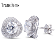 TransGems 2 CTW Lab Grown Moissanite Diamond Stud Earrings Push Back in Solid 14K White Gold for Women Fine Jewelry