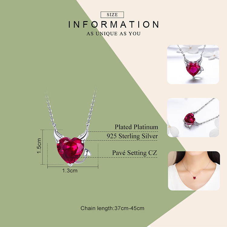 HTB1eQSHAZuYBuNkSmRyq6AA3pXai BAMOER New Collection 100% 925 Sterling Silver Devil Wings Red CZ Necklaces Pendant For Women Fashion Silver Jewelry SCN286