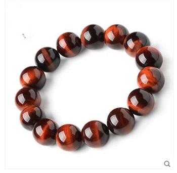 2018 Newly Natural Red Tiger's Eye Genuine Stone Bracelet Round Beads Stone Crystal Bracelet 16mm AAAA Fashion Women Bracelet