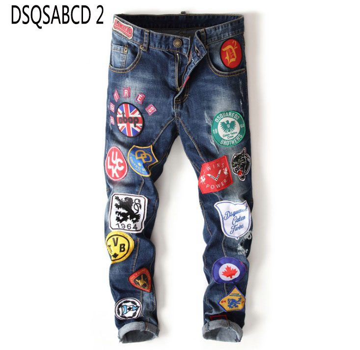 European American style Fashion mens badge hole denim jeans embroidery pattern blue men trousers jeans zipper luxury brand jeans