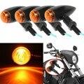 4 pcs Preto Da Motocicleta Turn Signal Indicator Light Lâmpada Para Harley/Bobber/Helicóptero