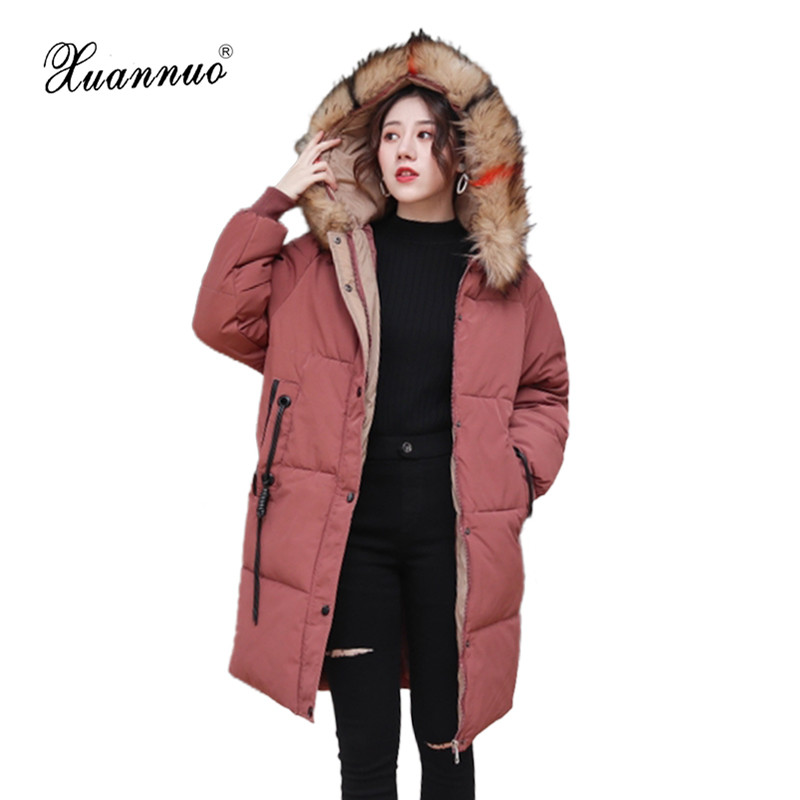 XuanNuo Winter Coat Women New 2018 Zipper Solid Winter Jacket Hooded Plus Size Warm   Parka   Thick Cotton Padded Lining Female Coat
