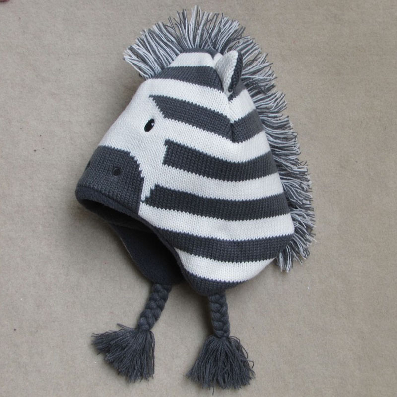 11efee69245 Aliexpress.com   Buy Baby Boys Winter Warm Hats Cartoon Zebra Pattern Caps  Kids Knitted Caps Ear Flaps Beanies Children s Girls Cute Animal Sckullies  from ...