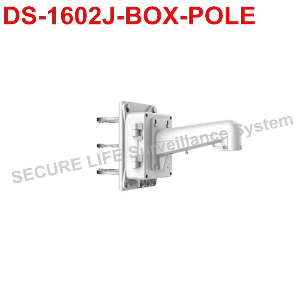 DS-1602ZJ-BOX-POLE PTZ camera Vertical Pole Mount Bracket with junction box ds 1602zj box corner ptz camera bracket corner mount bracket with junction box