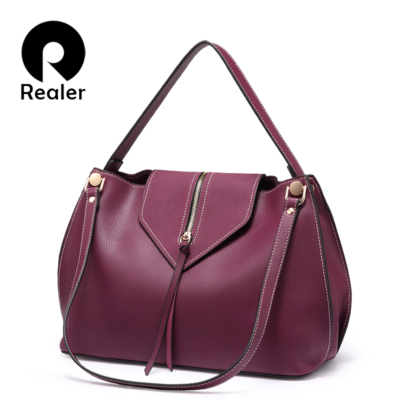 REALER women shoulder bag handbags PU leather female big crossbody bags ladies casual totes fashion design