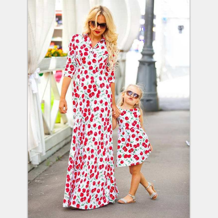 2018 Summer Family Matching Outfits Mom Mommy and Me Clothes Print Cherry Dress Mother Daughter Dresses Family Look Clothing