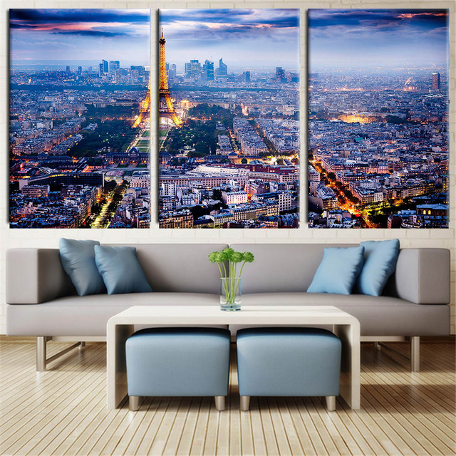 3 Piece Canvas Wall Art Printed Oil Painting On Canvas Eiffel Tower In Paris  Wall Pictures